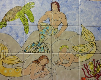 "Mermen with Sea Turtle Back Splash Mural Hand Painted Kiln Fired Decorative Ceramic Wall Art Tile 12.75"" x 17"""