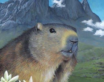 Peinture originale : Marmotte des Alpes