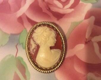 Vintage cameo brooch / Orange, peach brooch / woman silhouette /