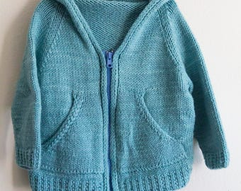 Made to Order Baby Toddler Raglan Hoodie Cardigan with Kangaroo Pockets