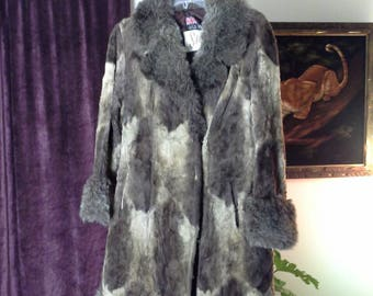 Vtg Sibley's Faux Fur Coat Made in England Womens Size Small