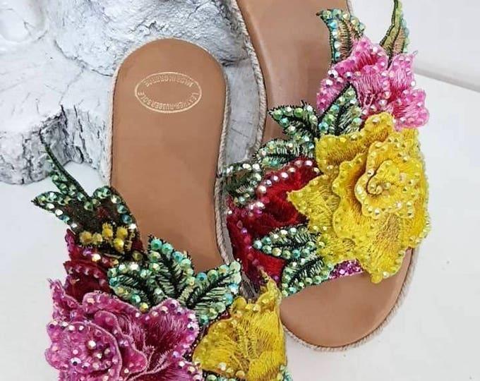 DHL FREE/Greek sandals/crystal sandals/sparkle/handmade/wedges/women's sandals/wedding sandals/colourful/bridal/lace sandals/roses/boho/heel