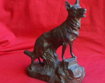 Beautiful antique german shepherd spelter sculpture by L. Brunswick