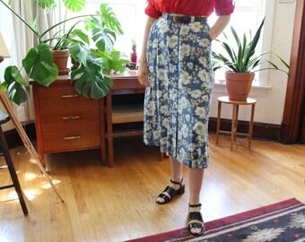 Floral Linen Midi Skirt