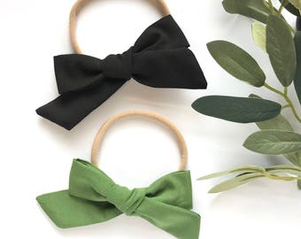 Black or Olive Green // Hand Tied, Schoolgirl, Fabric Bow