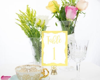 Gold Foil Brushstroke Border Table Numbers Handmade Wedding Style #0109