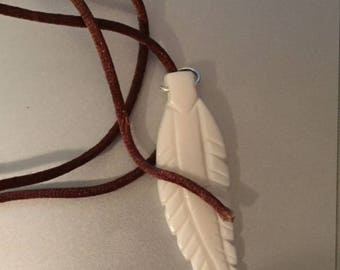 Bone Feather Pendant