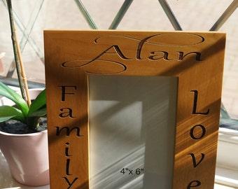Photo frame, engraved photo frame, personalised frame, mothers day gift,wooden photo frame,personalised gift,engraved gift, anniversary gift