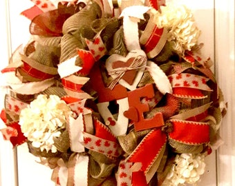 Valentine's Day Wreath, Burlap Valentine's Wreath, Valentine's Day Decor, Front Door Wreath, LOVE Wreath, Deco Mesh Wreath
