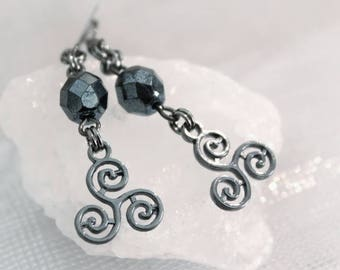 Earrings gunmetal with hematite and triskelion pendant beads
