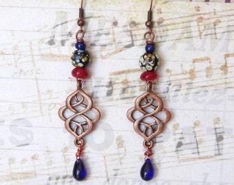 Dangle Earrings, Ethnic Oriental Bohemian Boho Chic Copper Southwest, Beaded Earrings, Handmade Jewelry, Womens Gift Idea, Coworker Gift