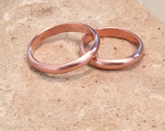 Stackable copper rings, copper bands, half-round copper rings, copper rings, plain bands, simple ring, gift for her, gift for wife