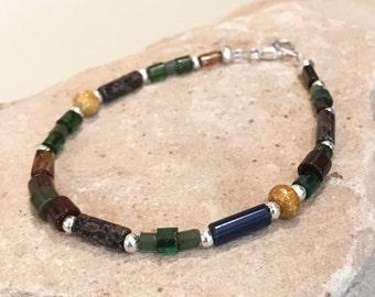 Multicolored bracelet, Czech bead breacelet, Hill Tribe silver bracelet, boho style bracelet, sundance style bracelet single strand bracelet