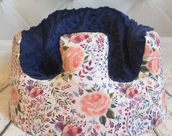 Peachy Florals Navy Bumbo Cover