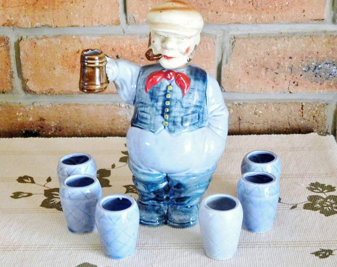 Featured listing image: 1960s Japanese figural whisky decanter, Englishman with tankard and 6 shot glasses, gift idea