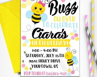 Bee Birthday Invitation | Bee Day Invitation | Bumble Bee Birthday Invitation | Digital Invitation | Print-at-Home | Design 17043