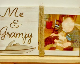 Grandpa and Me Picture Frame, Speed Boat, Grandpa Christmas Gift, Grandpa Gift, Boat Lover Gift Rustic Frame Distressed Engraved