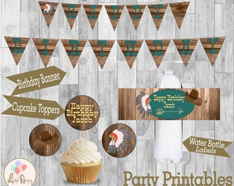 Cowboys & Indians Party Printables - Birthday Banner - Water Bottle Labels - Cupcake Toppers - Tribal Birthday Party - Boys Birthday