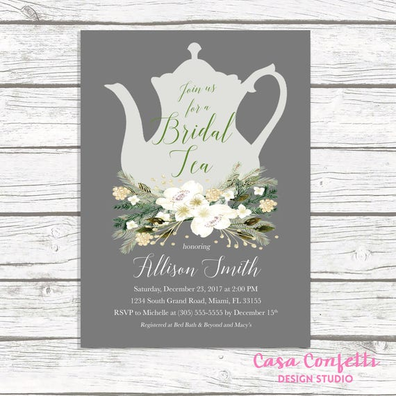 Christmas bridal shower invitation bridal tea invitation tea party il570xn filmwisefo