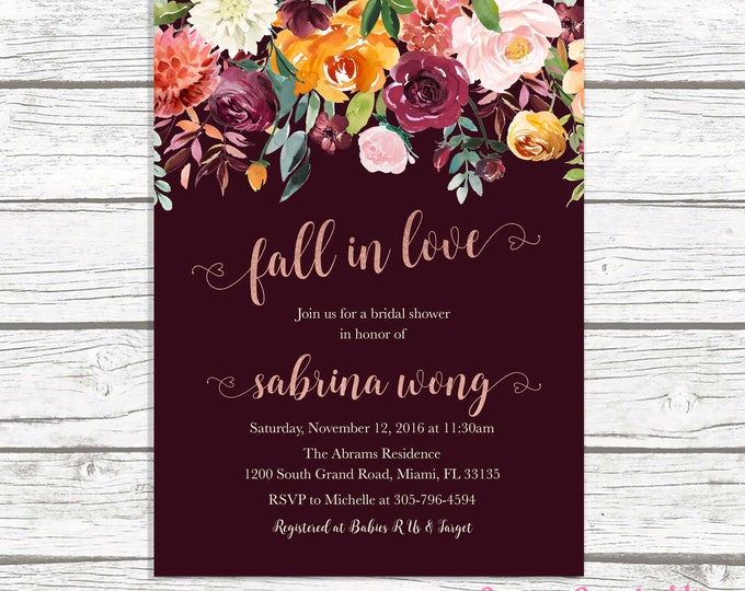 Fall in Love Bridal Shower Invitation, Rose Gold Bridal Shower Invitation, Burgundy Bridal Shower Invitation, Marsala Bridal Shower Invite