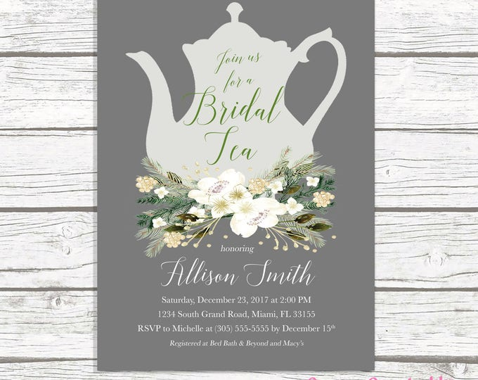 Christmas Bridal Shower Invitation, Bridal Tea Invitation, Tea Party Invitation, Winter Bridal Shower Invitation, Tea Bridal Shower Invite