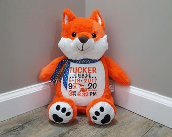 Fox Embroidered Personalized Stuffed Animal Gift, Birth Stats, Baby Shower, Sibling, Birthday, Retirement, Graduation Gift, Monogram