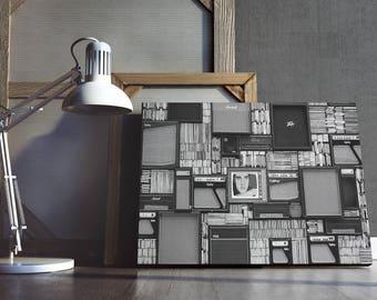 Retro Canvas, Retro Art, Retro Canvas Art, Retro Radio Art, CDs Art, Living Room Art Ideas, Bedroom Decor Ideas, Large Art, Canvas Wall Art
