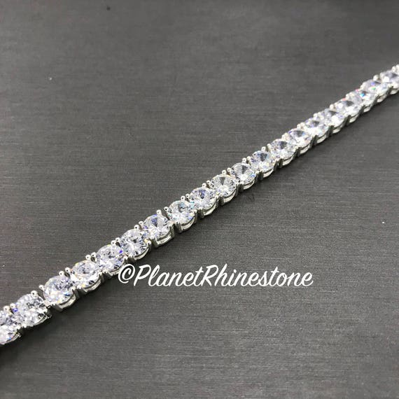 Silver Crystal Chain Trim  #T-K