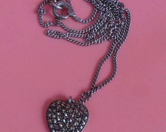 Vintage Sterling Silver & Marcasite HEART Pendant / Necklace