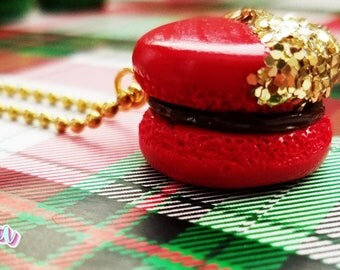 Chocolate Macaron Charm, Glitter Macaron, Glitter Charm, Gold Glitter, Macaron Charm, Planner Charm, Macaron Planner Charm, Christmas Charm