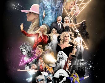 Lady Gaga Poster - Super Bowl Star Collage