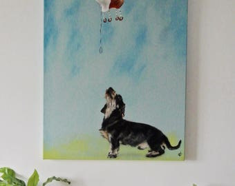 dachshund art, dachshund painting, dachshund, dachshund lovers gift, sausage dog, doxie lover, original painting