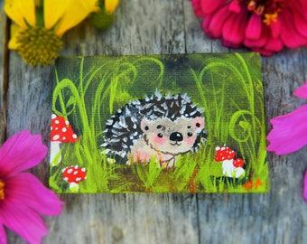 SALE ! Hedgehog original acrylic painting on mini canvas