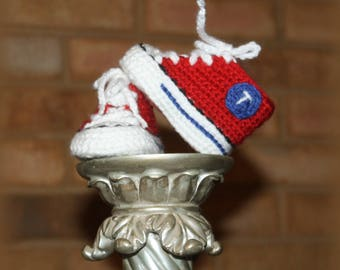Crochet Baby SHOES, Baby Baseball shoes, Texas RANGERS inspired converse shoes (Handmade by me and not affiliated with the MLB)