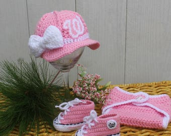Baby Pink BASEBALL hat and shoes, Newborn baseball hat, Washington NATIONALS inspired (Handmade by me and not affiliated with the MLB)