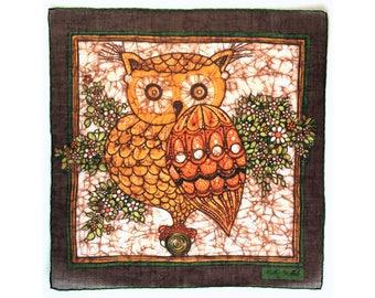 Vintage Batik-look Owl vintage ladies' handkerchief, by Stoffels, hankie, hanky, bird, H32