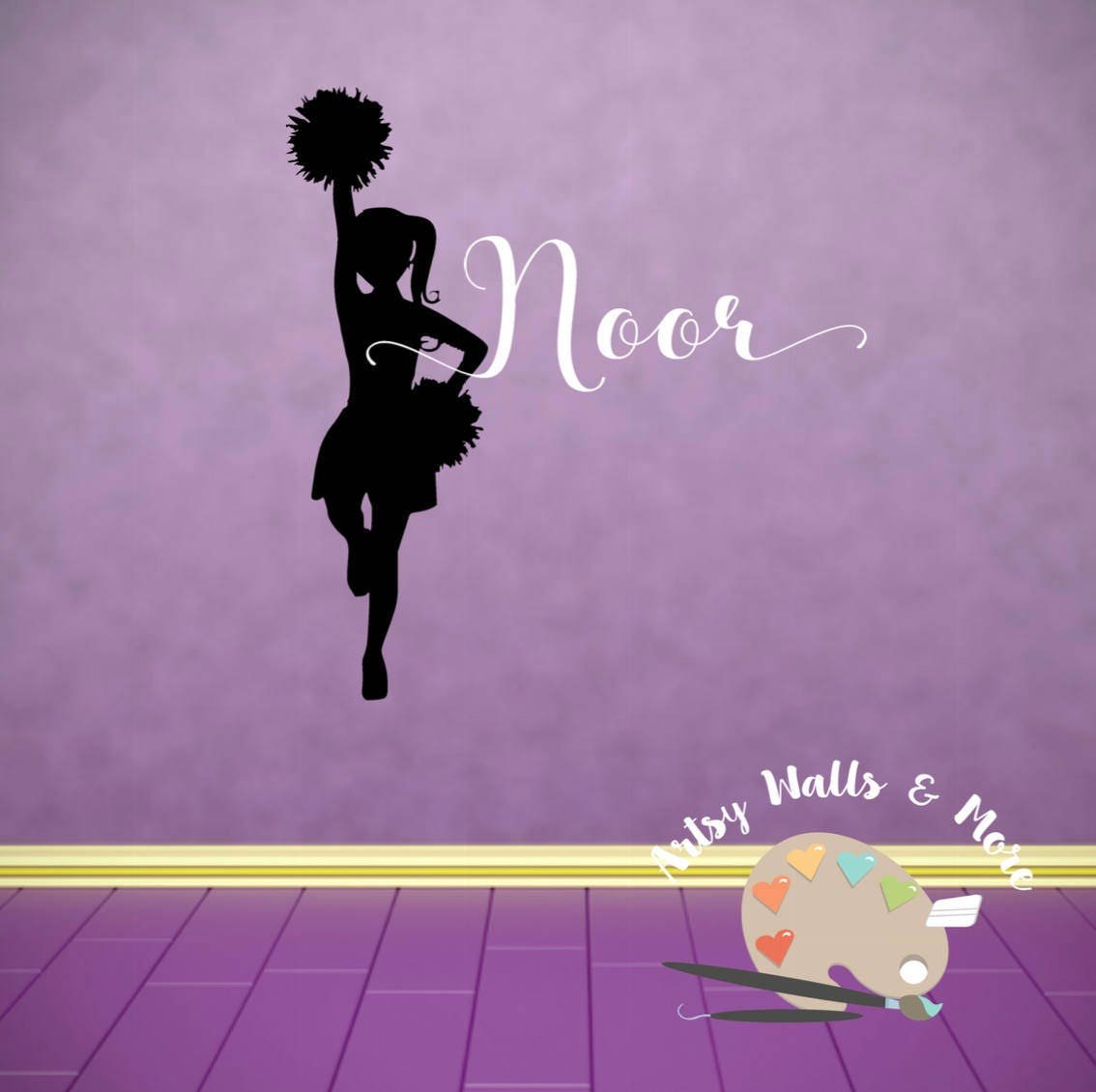 Gymnast with name or Cheerleader with name vinyl wall decal