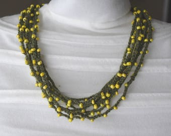 Necklace crocheted, green and yellow necklace, multi strand necklace, jewelry, crocheted, original necklace, gift, RoseCreationsBoutik