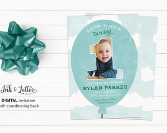 First Birthday Invitation - Blue Birthday Invitation - Photo Birthday Invitation for Boys - Custom Birthday Invites - Digital Invitations