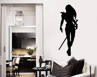 Silhouette Warrior Vinyl Wall Decal Woman with Sword Armor Fantasy Stickers Mural  (#2557di)