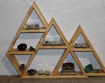 mountain shelf Triangle Shelf Crystal Display Meditation Shelf Altar Shelf wooden shelf triple shelf curio shelf peak shelf minerals shelf
