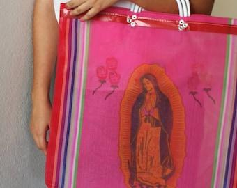 Mexican mercado bag, Our Lady Guadalupe mercado bag, Virgen de guadalupe bag, Virgin of guadalupe tote Bag, Mexican Guadalupe virgin purse