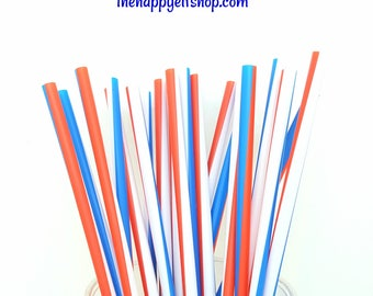 Patriotic plastic straws. Patriotic straws. red white blue straws. Silver straws. 4th of july straws. 4th of july party decor. 4th of july