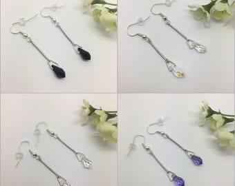 Tear drops - long earrings for pierced ears. With Swarovski crystals