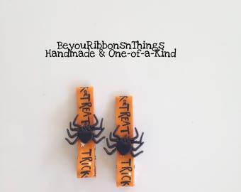 Black Spiders | Hair Clips for Girls | Toddler Barrette | Kids Hair Accessories | Flatback | No Slip Grip | Halloween