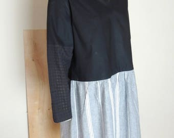 cotton, linen, dress, black, blue, v neck, pullover, long sleeves