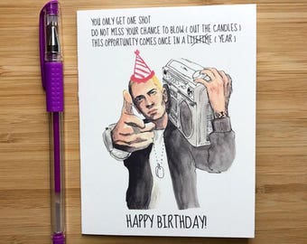 Eminem Birthday Card, Slim Shady Happy Birthday, Eminem Birthday Party Favors, Birthday Cards, Rap Music, Dr Dre, Eminem Gift, Hip Hop Music