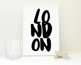 London Printable Print, London Art Print, Typography Print, Travel Print, Travel Gift, Boy Room Decor, Girl Room Wall Art, Kids Art, PDF JPG