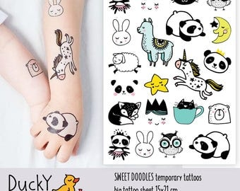 Temporary tattoos Sweet doodles. Kids tattoos lama, panda, ballerine, princess, cat, owl, unicorn etc. Baby shower favors and gifts  TA047