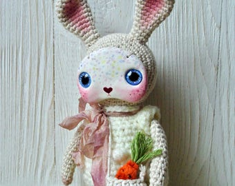 Amigurumi crochet and clay art bunny doll; ooak doll; collectible doll; gift fantasy doll; whimsical cute poppet